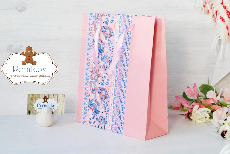Пакет для подарков Цветочная вышивка