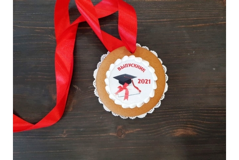 Пряничная медаль Выпускник 2021 красная