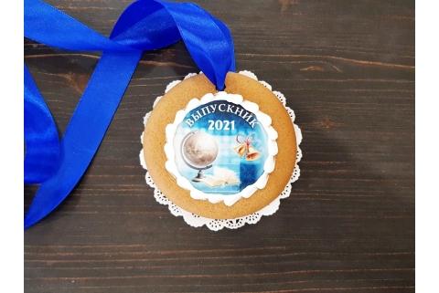 Пряничная медаль Выпускник 2021 синяя