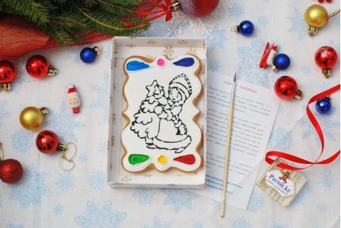 Пряник раскраска Снегурочка с елочкой