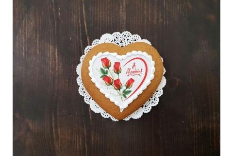 Пряник Сердце 8 марта с розами