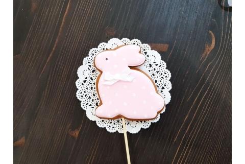Пряник Топпер для кулича Зайка розовый