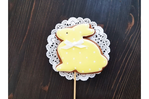 Пряник Топпер для кулича Зайка желтый